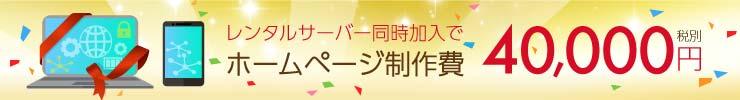 レンタルサーバー加入でホームページ制作費4万円